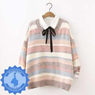 日系原單 彩色條紋圓領寬鬆針織衫毛衣 MA5873 啡/藍 $135 預購