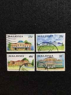 1991 Historical Buildings (2nd Series) 4 Values Used Set  (ISC Catalogue Valued At RM7.50/set)