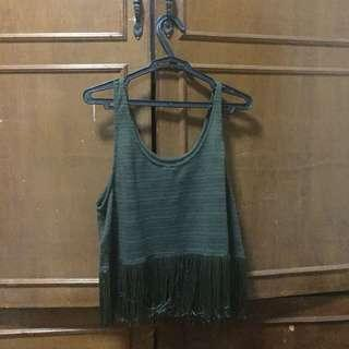 PRELOVED H&M Sleeveless cropped olive green top