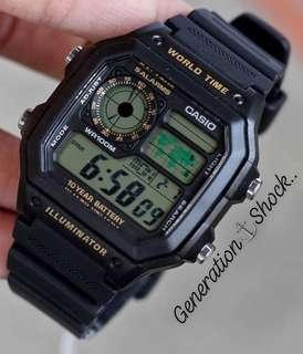 SUPER RARE🌟SEEN AVIATOR SERIES: 1-YEAR OFFICIAL WARRANTY CASIO 100M DIVER SPORTS WATCH : TOUGH RESIN STEALTH MATT BAND : Officially by GSHOCK JAPAN COMPANY : BEST for ROUGH USERS & UNISEX : CASIO MODEL : AE-1200WH-1B / GSHOCK / DW-5600 VERSION