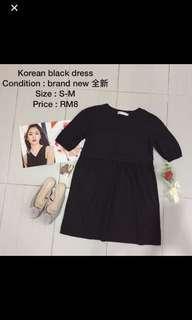 Korean simple black dress / top / blouse