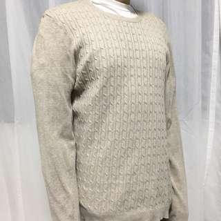 Topman Light Khaki Cable Knit Round Neck Thin Sweater