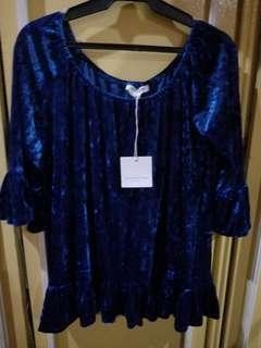 Blue suede blouse