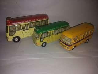 Lot of 3 HONG KONG BUS TOY VEHICLES CARVEN SCHOOL BUS MINI BUS TOYOTA