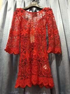 H&M LOVES COACHELLA Bright Orange Crochet Mini