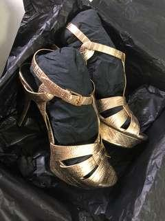Saint Laurent Paris heels in gold