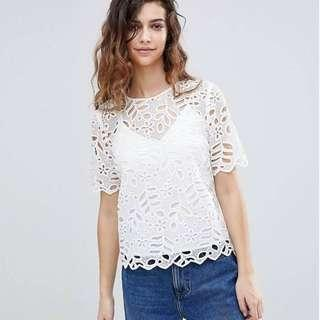 Warehouse Lace Cut Out Scallop Top