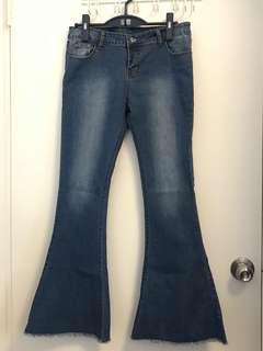 👖復古懷舊彈性喇叭牛仔褲(只穿過一次)