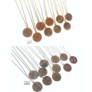 Non Tarnish Disc Initial Necklace