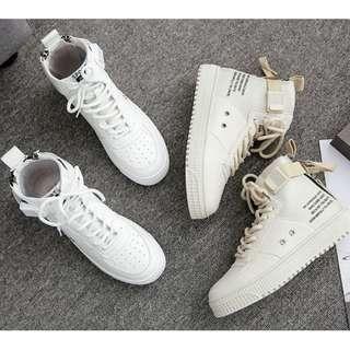 【預購】AT - 女品(9896):皮革+布+橡膠*休閒鞋/女鞋(尺寸:35-40碼/高度:約3公分/防水台:約2.5公分/重量:約0.9KG)_免運。