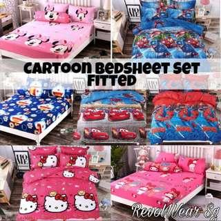 🚚 Cartoon Fitted Bedsheet Set 4 Sizes available