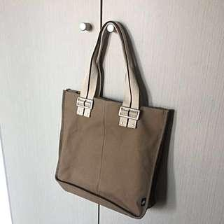 Agnes B College Tote Bag In Brown Canvas