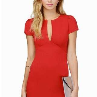 Tobi Aria Bodycon Dress in Red, Size Small