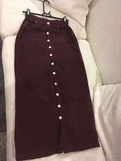 Full Length Button Up Corduroy Marroon Skirt