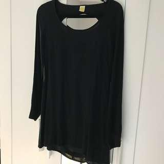 NEW Nasty Gal Black, Long-Sleeve Shift Dress w/ Circle Cutout on Back