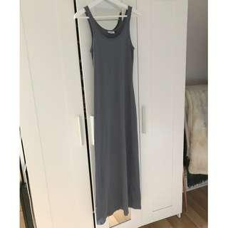 ONLY Cotton Maxi Tank Dress in Grey/Blue, Size Small