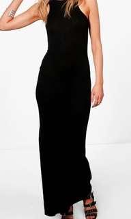NEW Boohoo Black cotton maxi dress