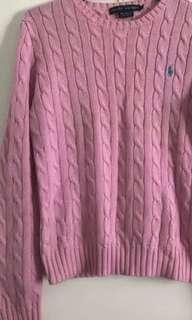 Ralph Lauren pink cable knit round crew neck sweater