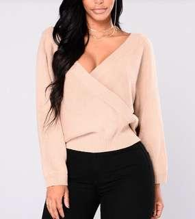 BNWT Fashion Nova Anne Marie Sweater Top (Taupe, size small): Perfect for autumn/fall! 🍁