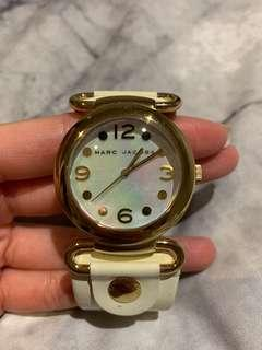 Marc Jacobs White Leather Womens Pearl Face Watch