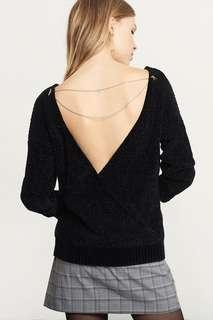 Black backless sweater