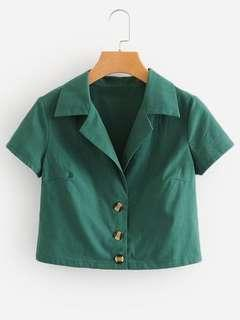 Green Crop Button Up Shirt