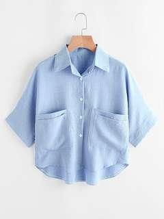 Blue Crop Shirt