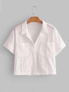 White Crop Eyelet Shirt