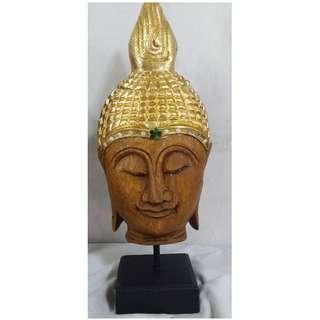 Buddha head w stand Thailand antique repro wood carvings