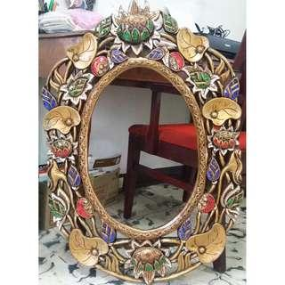 wood carvings Mirror frame gold from Thailand antique repro