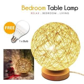 Japan Wooden Side Table  Lamp 02 IFree Bulb]