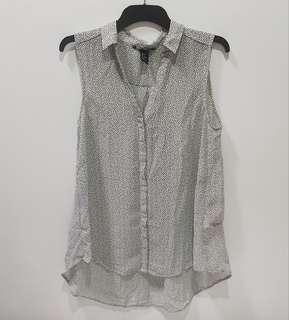 Black White Printed Sleeveless Collar Top