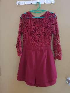 (2 for RM50) red lace romper - premium quality