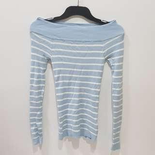 Blue White Stripe Off the Shoulder Long Sleeve Top