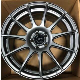 🚚 [二手]汽車輪框- DG FG02 17吋 輕量化 旋壓鍛造 鋁圈 全車系適用 消光鐵灰
