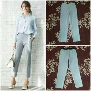 GU UNIQLO Satin Ankle Length Pants (Blue M)