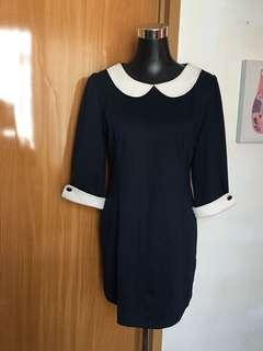 Navy Blue Collar Shift Dress