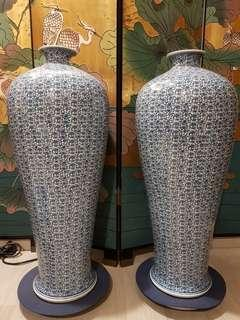Blue and White Large Vase (Pair)