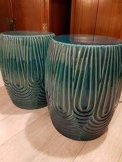 Turquoise Green Porcelain/Ceramic Stool (1 available)