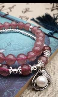 最後兩條‼️天然草莓晶手鍊,925銀貝殼,少見款式