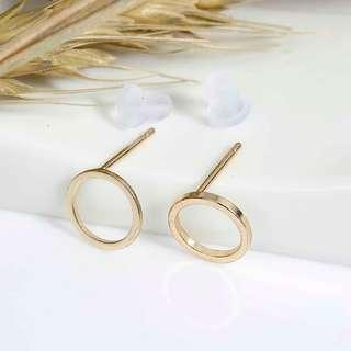 Geometric Round Circle Gold Stud