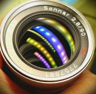 Contax zeiss G90 F2.8 sonnar 連Laina Sony nex E mount 接環 原廠GG-3 Hood 鏡頭蓋 Filter 81B