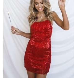 Legendary Red Sequin Party Dress BNWT Dollygirl