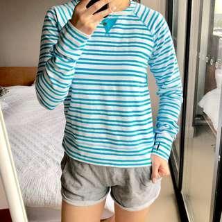 Lululemon pullover long-sleeve blue stripe top US 4 (AU 8)