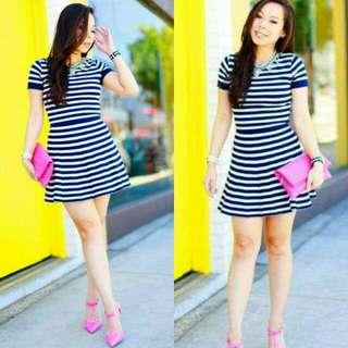 🍃Blue Stripe Sleeved Top & Skirt Terno