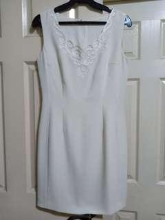 Off white embroidered dress