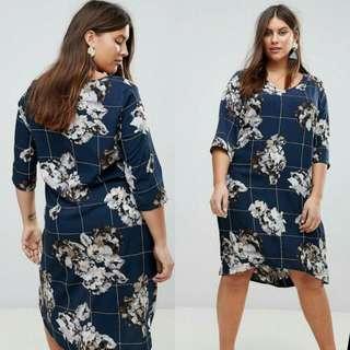🍃Blue Floral Plus Size Formal Dress