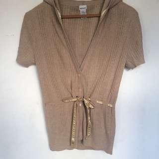 Tan Knitted Short-sleeved Cardigan with Hood