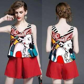 🍃Woman Print Top & Red Shorts Terno