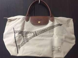 LONGCHAMP Le Pliage Eiffel Tower Bag Beige Short Handle